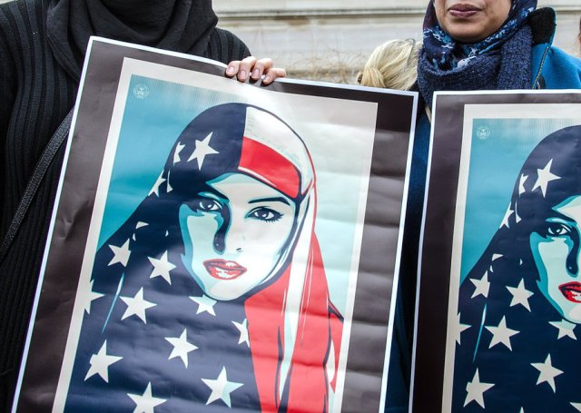 Muslims with Muslim Posters
