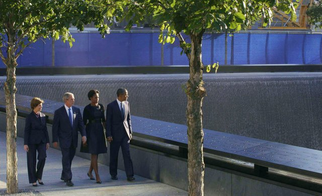 Obamas and Bushes at WTC